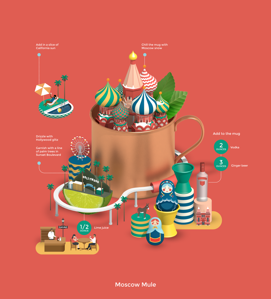 Moscow mule jing zhang illustration for Cocktail tgv